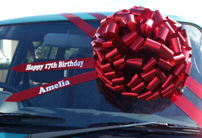 """BIG GIANT CAR BOW (16"""") PERSONALISED METALLIC RED Large Birthday Christmas bow"""