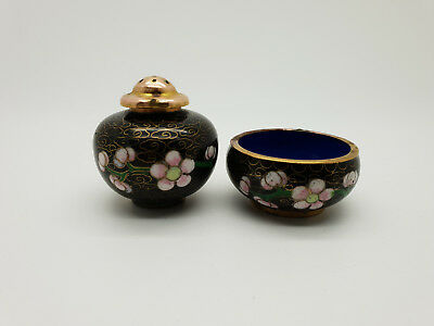Antique Vintage Small Chinese Cloisonne Salt & Pepper Cruet Set