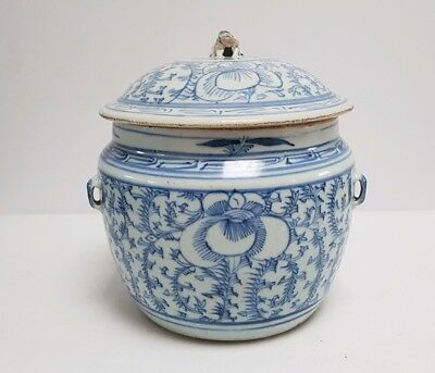 Antique Chinese Qing Blue&White Peranakan Nonya Porcelain - Kamcheng Covered Pot