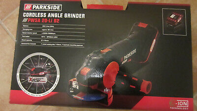 Parkside Cordless Li-Ion Angle Grinder Tool PWSA 20-Li B2 Team 20V Full Package