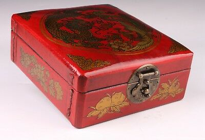 China Old Red Leather Jewelry Box Dragon Phoenix Mirror Interlayer