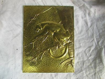 Antique Vintage Embossed BRASS PANTHER COUGAR WALL plaque handmade ART relief