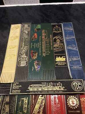 Collection of 18 leather bookmarks, railway themes, all in good condition