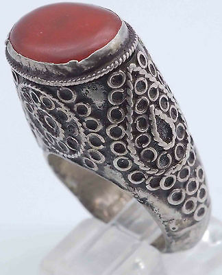 Lovely Antique Turkish Ottoman Empire Agate Silver Tall Rare Ring #SH435