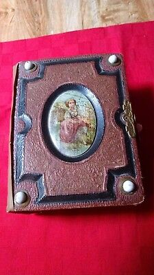 *antique 1880-1890 Victorian Photo Album With 49+ Original Tin Type/sepia Photos