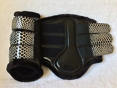 Croco Black & Silver Patent Fleece Lined Brushing Tendon Dressage Boots S M L Xl