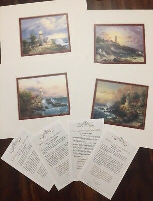 LOT OF 4 Thomas Kinkade Accent Matted Prints COA LIGHT PEACE BEACON HOPE STORMS