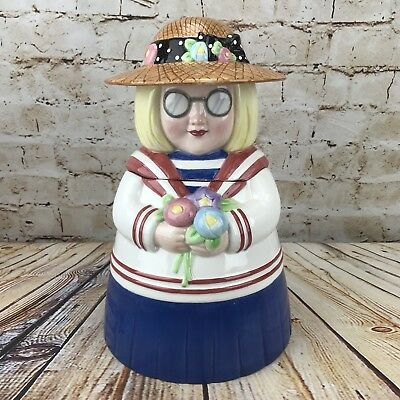 ME Ink Mary Engelbreit 1999 Ann Estelle Ceramic Collectible Cookie Jar *Chipped*