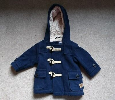 Baby boy Next winter coat jacket navy blue zip and toggle fastening 3-6 months