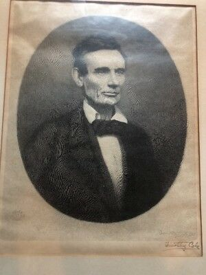 Pencil Signed Abraham Lincoln Engraving 1928 Timothy Cole Framed