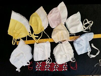 (10) Vintage Baby Bonnets Hats Lace Headband Toddler Baby Infants Doll Bears N/R