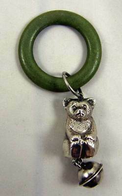 Fabulous antique silver teddy bear rattle hallmarked Chester 1922 William Vale