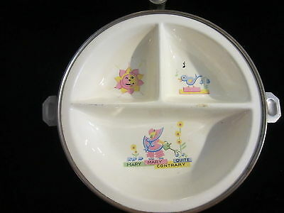 "Vintage Baby Childs Divided Warming Dish .""Mary Mary Quite Contrary"" By G.W Co."