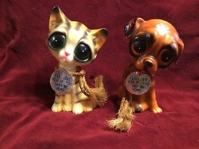 1970s Vintage Ensco Set - Big Eye Cat and Dog w/ Original Rope and Tag