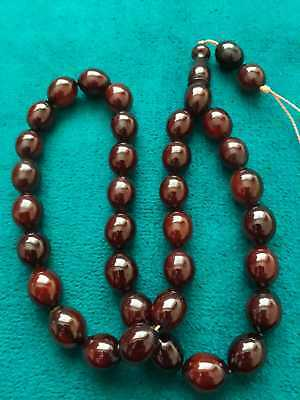 Cherry Faturan Antique Ottoman German New Amber Stone Rosary Nice Red Color 58gr
