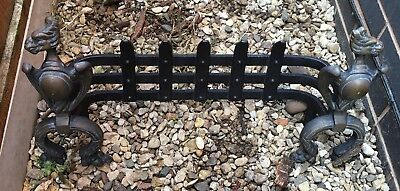 Cast Iron Fire Place/fire Grate/fire Basket Front With Brass Sides, Eagle Design