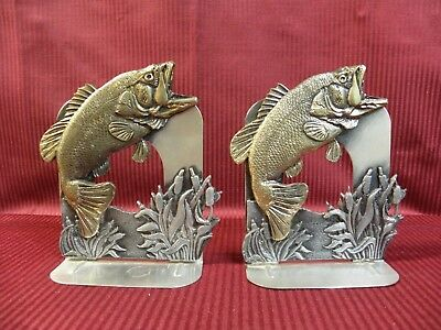 Brass Large Mouth Bass Fish Metzke 1984 Pewter Cattails Bookends Marked
