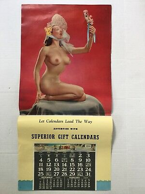 Lg ORIGINAL 1952 PINUP ADVERTISING CALENDAR SALESMAN'S SAMPLE 33""