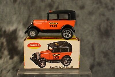 Vintage 1960s Tiny Tonka Model T Taxi No. 438 100% Complete w Box NEAR MINT