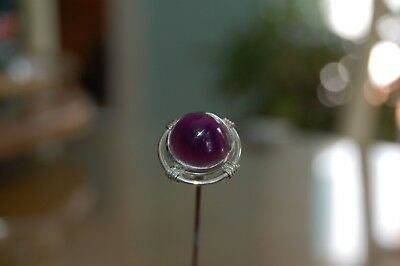 Vintage Sterling Hatpin With Amethyst Glass Center. Stunning Piece!
