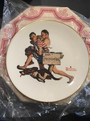 1983 Limited Edition Gorham Norman Rockwell Plate Summer - Hasty Retreat!