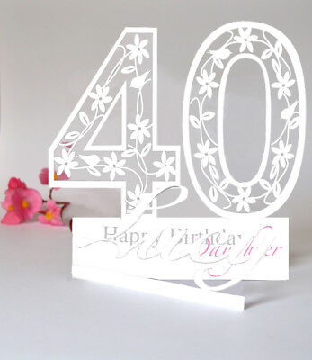 LARGE PERSONALISED 3D PaperCut 40th Birthday Card For A DaughterSister Etc