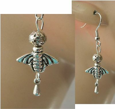 Bee Earrings Charm DropDangle Silver Handmade Jewelry Hook Bumble Bee Fashion