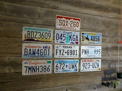 10 License Plates from different states Mixed lot of license plates.