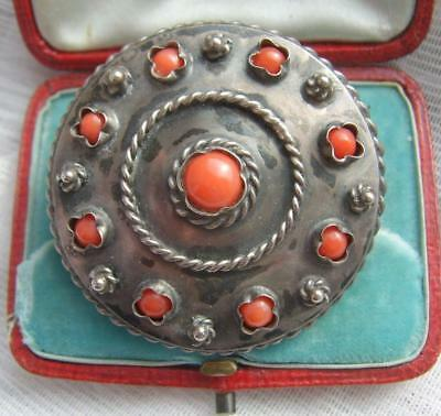 Vintage Art Deco Chinese Solid Silver & Multi Real Coral Circular Target Brooch