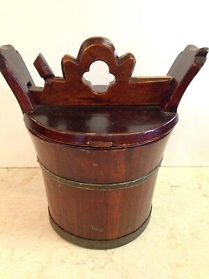Antique Chinese wedding basket with hidden wood lock