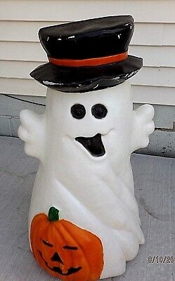 """Vintage Ghost Blow Mold With Black Top Hat And Pumpkin 31"""""""