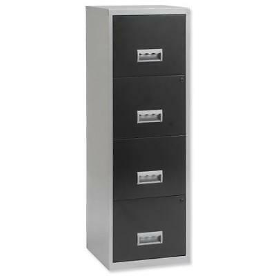 Pierre Henry Filing Cabinet Steel Lockable 4 Drawers A4 Silver and Black Ref 095