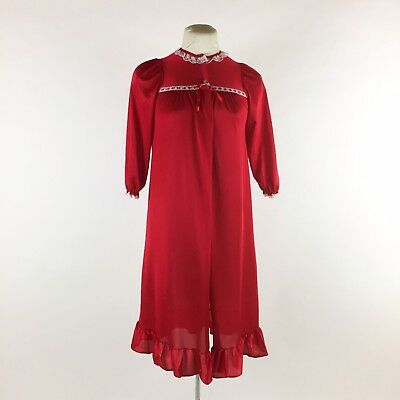 Vintage 1970s Girls Red Robe Lace Trim Ruffle Open Front
