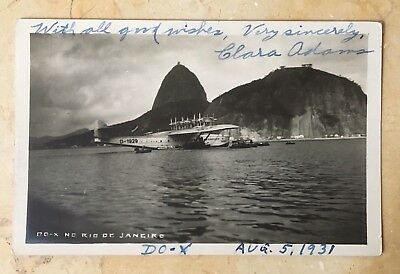 D-OX PHOTO POSTCARD AUTOGRAPHED BY CLARA ADAMS 1st WOMEN TO FLY ON D-OX RIO-NY