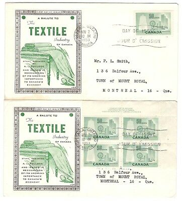 1953 Ottawa 50c Textile Single & Plate Block First Day Covers FDC's JCR Cachets