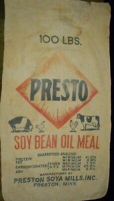 Vintage Cloth Presto Soybean Meal Oil Feed Sack Preston Soybean Mills Preston MN
