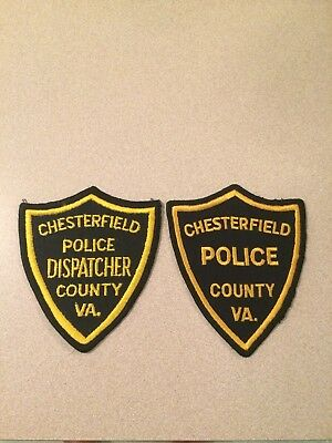 Vintage Pair Of Chesterfield County (Va) PD & Dispatcher Patches