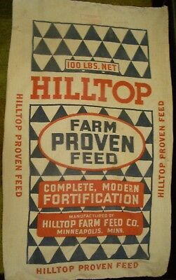 Vintage Cloth Hilltop Farm Proven Feed Sack Hilltop Feed Co. Mpls Minn 1949