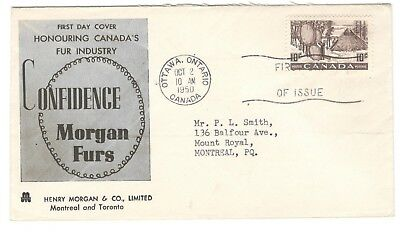 1950 Ottawa 10c Fur Industry First Day Cover FDC Henry Morgan Cachet