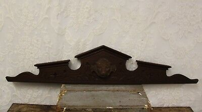 Beautiful Salvaged Antique Walnut Lion Head Crown Crest Pediment 41""