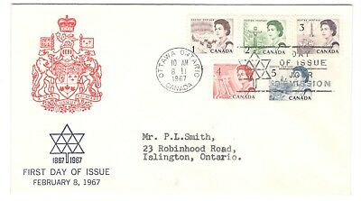 1967 Ottawa Low Value Centennial Definitives Combo First Day Cover Caneco Cachet