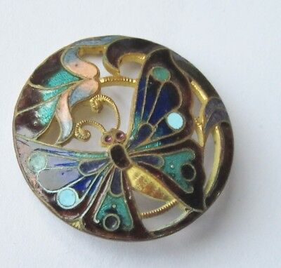 Antique Enamel Button Butterfly & Flower Pierced