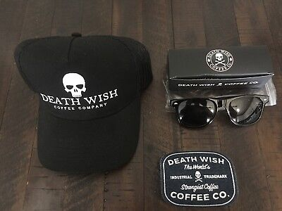 Rare Death Wish Coffee Trucker Ball Cap, Sunglasses And Industrial Denim Patch