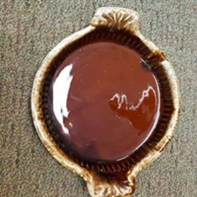 Vintage McCoy Pottery Deep Dish Brown Drip Handled 10 1/2 Inch Pie Plate