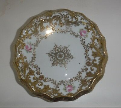 Fabulous Vintage NIPPON Footed Bowl w Heavy Gold Accents, Beading & Pink Roses