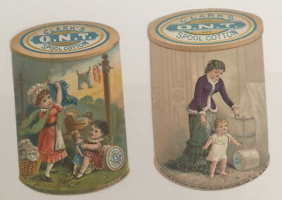 Two Victorian trade cards for Clark's O.N.T.Spool Cotton shaped like spool