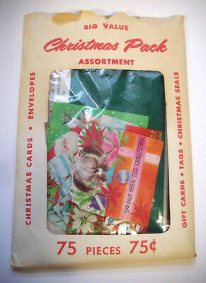 Vintage 1960's   75 piece Christmas of  pack cards gift tags seals