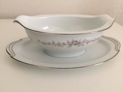 Noritake Rosepoint Platinum Trim Gravy Boat With Underplate and Handles