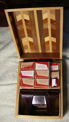 Vintage Tru Vue Library & Viewer Viewmaster Inlay wooden box 15 flims