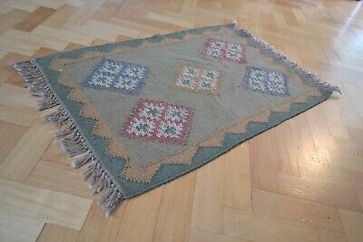Kilim Mat Rug Wool India Hand Knotted Diamond 60x90cm 2'x3' Moroccan Small